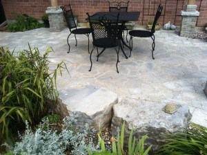flagstone dining area